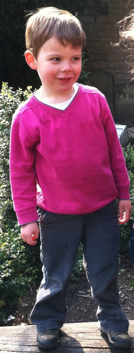 Zac in his pink jumper
