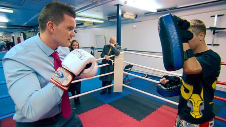 Ricky tried to land a knockout blow but ended up down for the count (image courtesy of bbc.co.uk)
