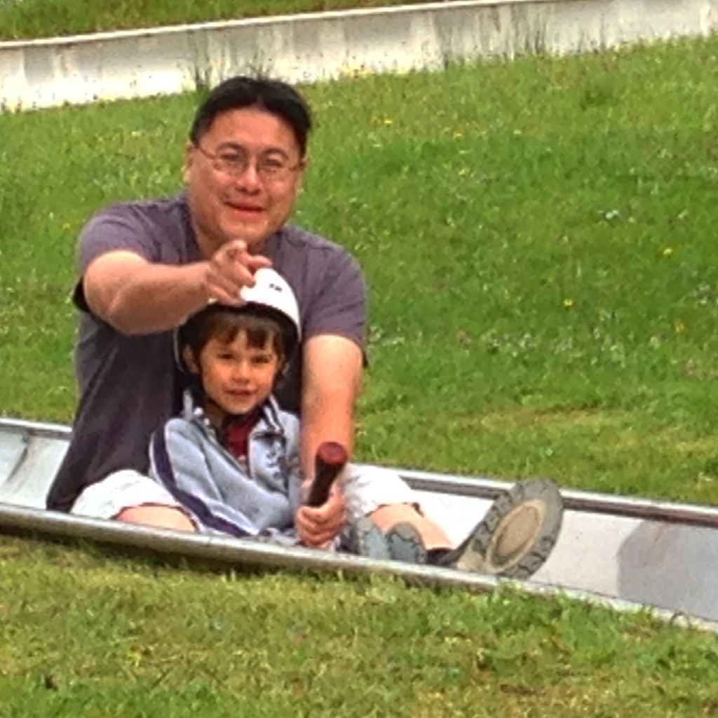 Daddy and Toby bob-luge