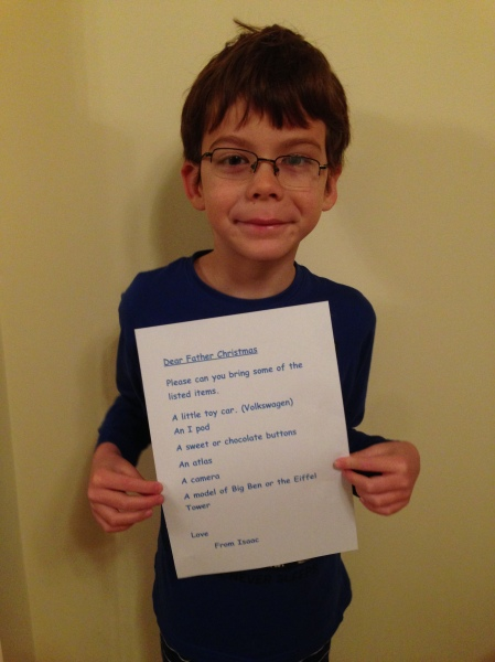 Isaac with Christmas list