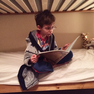 Isaac reading bedtime