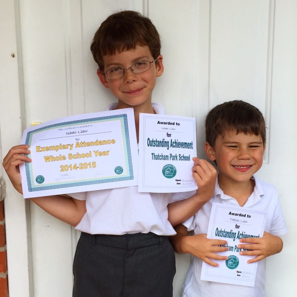 Isaac and Toby with their awards