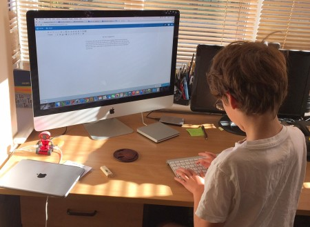 Isaac blogging