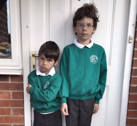 Toby and Isaac school uniform
