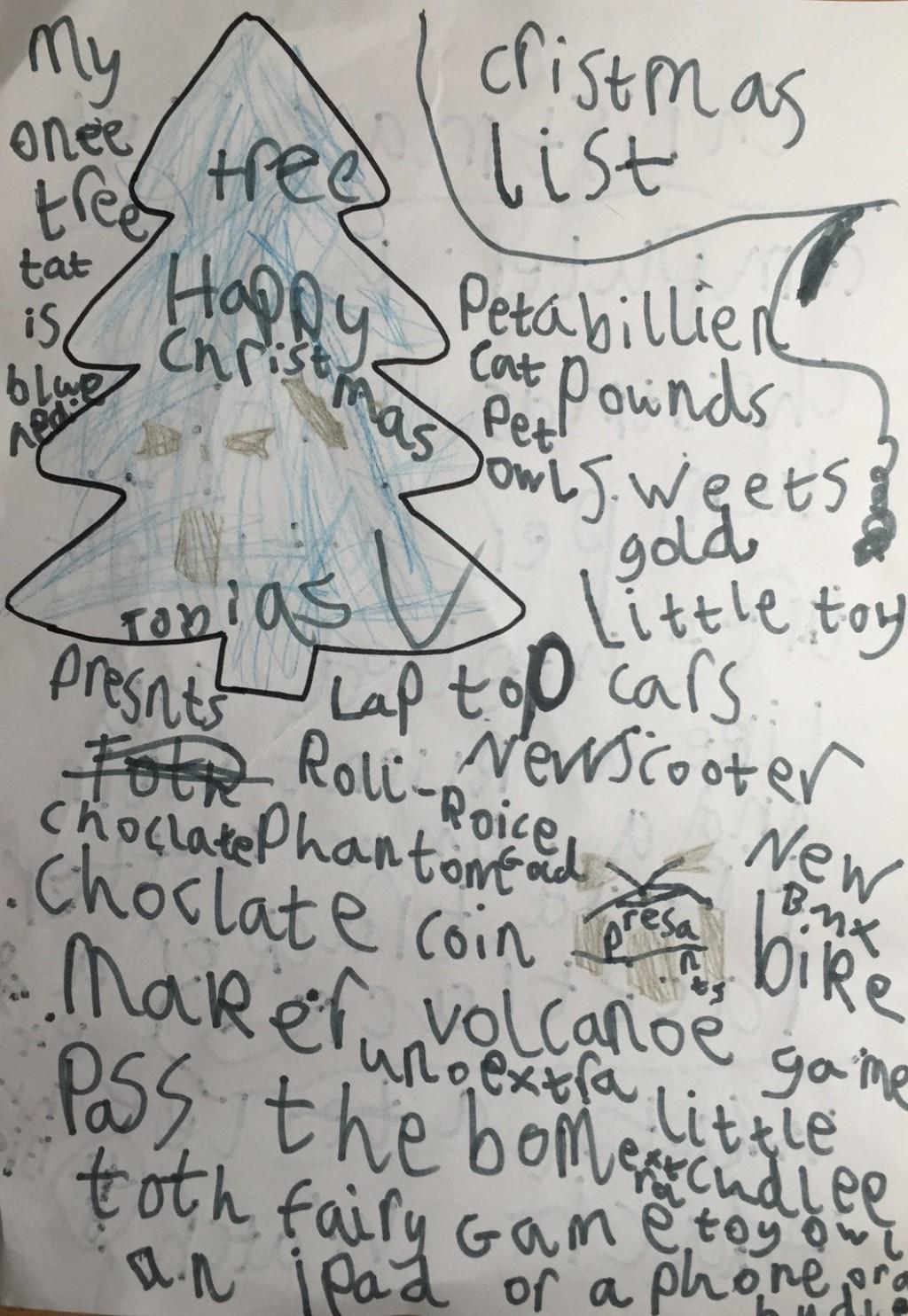 Toby's Christmas list