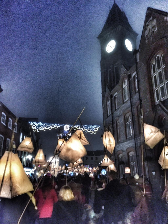 Clock tower Newbury Festival of Light