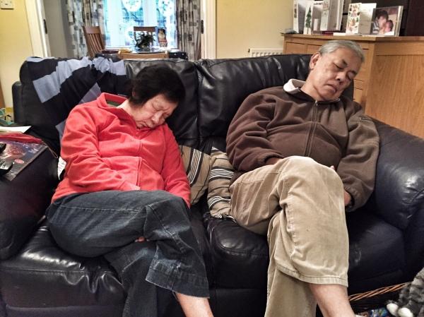 Grandma and Grandpa asleep