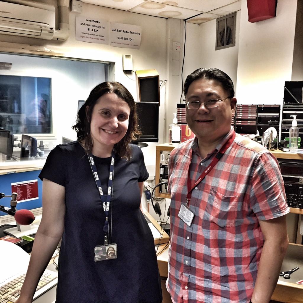 BBC Radio Berkshire studio with Sarah Walker