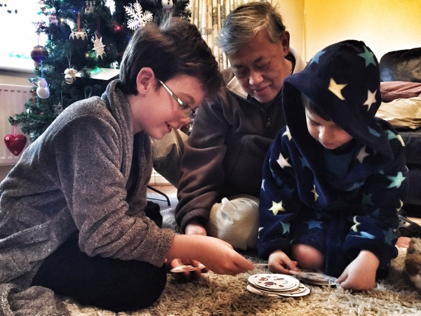Grandpa playing Dobble with Isaac and Toby