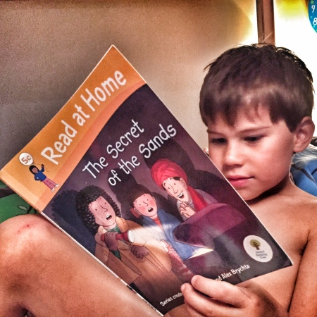 Toby reading book