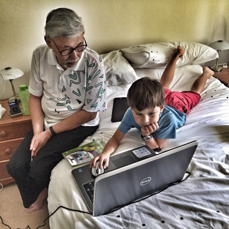 Toby with Grandpa's laptop