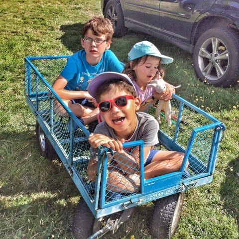 Camp Bestival three kids and a trolley