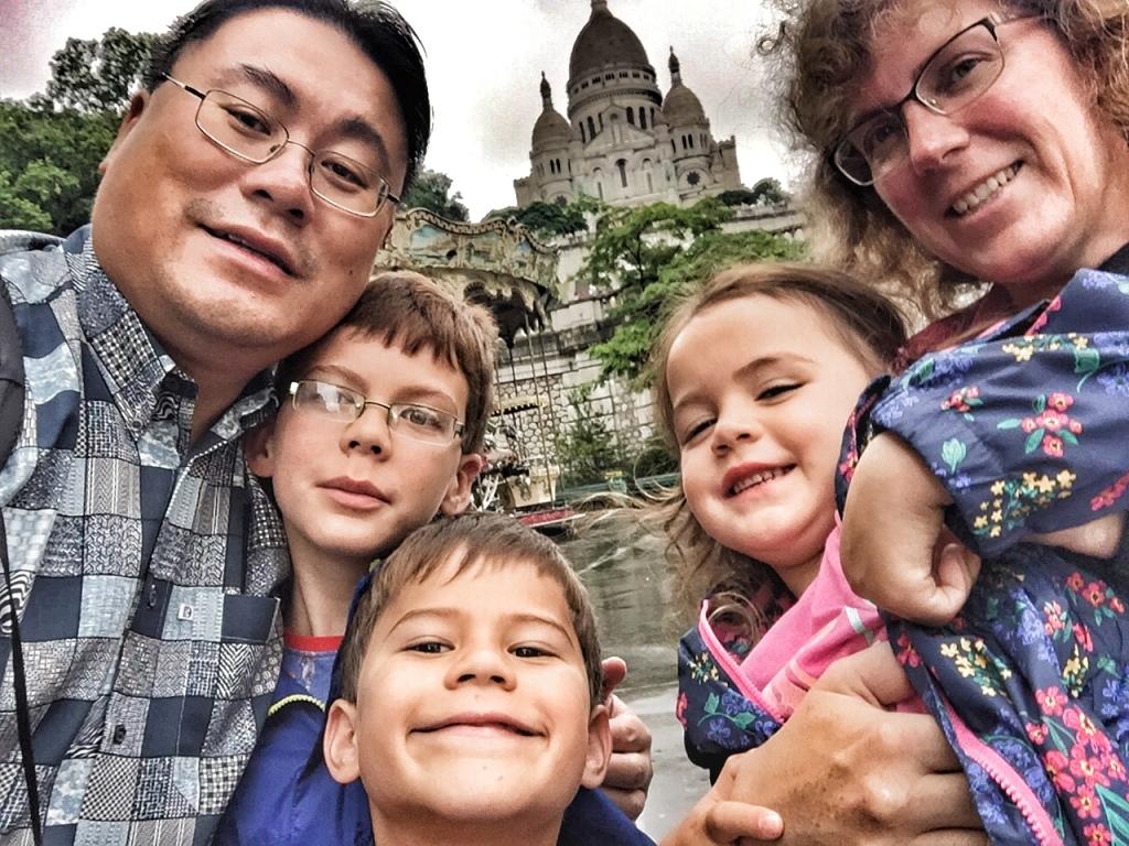 Paris family selfie at Sacre Coeur hi-res