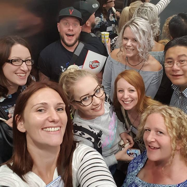 Group lift selfie at Hotel Football, BlogOnXmas 2017. Photo by Simone Riches-Teale